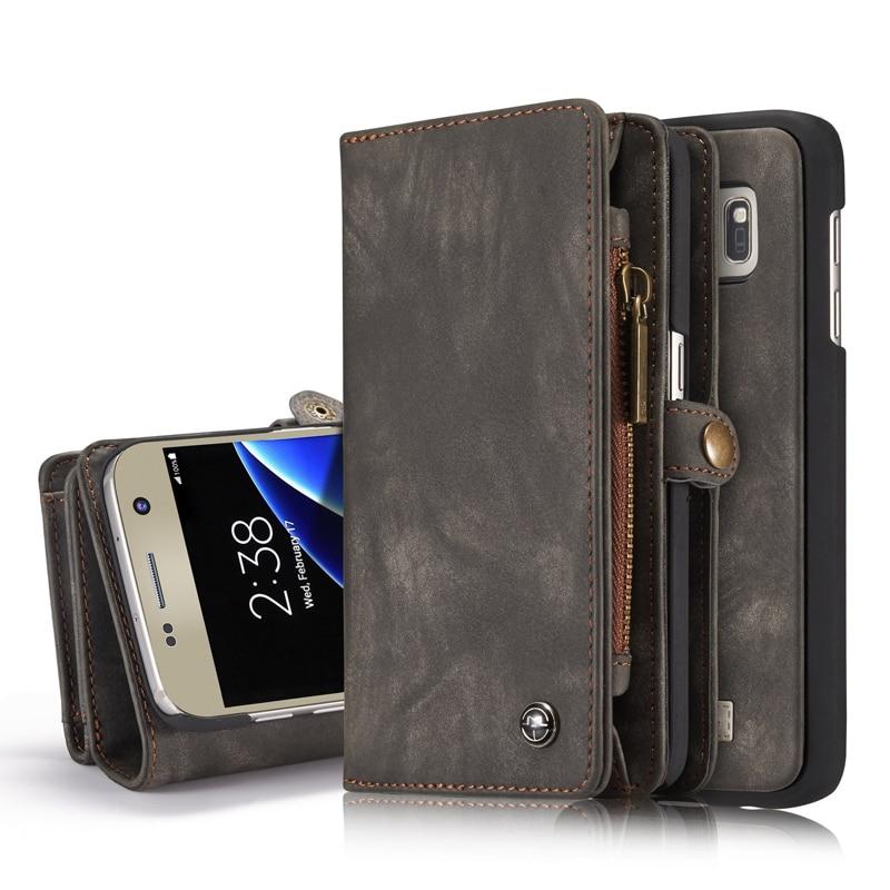 imágenes para Caseme zipper wallet case para galaxy s7 teléfono cartera de cuero coque para samsung galaxy s7 edge fundas bolsa premium folio cubierta