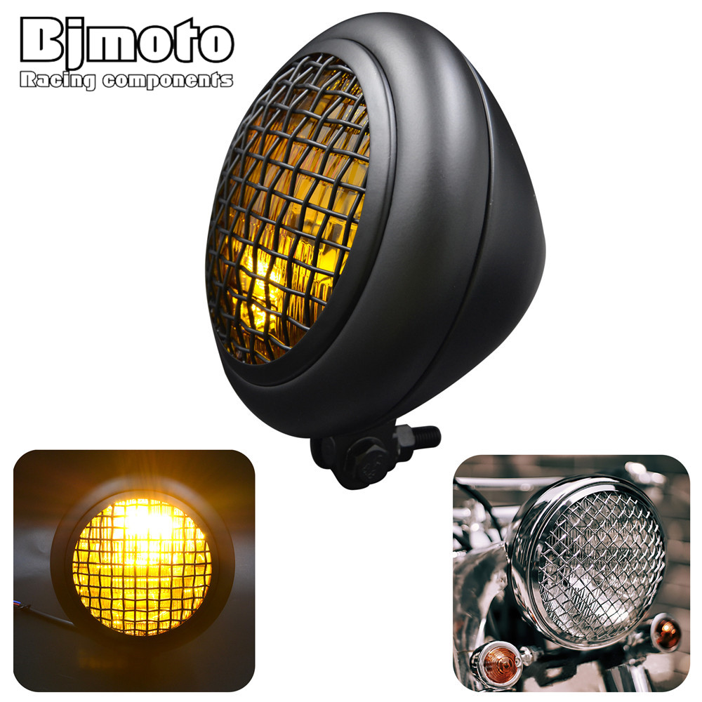 BJMOTO Retro Aluminum Fences grid Motorcycle For Harley Headlight Bobber LED Daytime Running Light Cafe headlamp fences fences lesser oceans lp