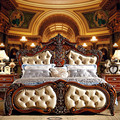 Classic luxury white genuine leather beds 0409-MS102