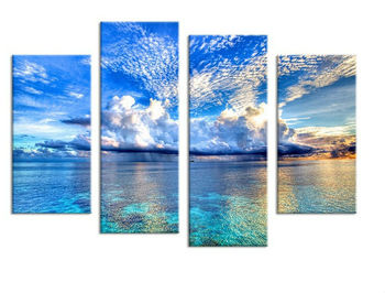 4PCS beautiful ocean sunset landscape Wall painting print on canvas for home decor ideas paints on wall pictures art beautiful ocean