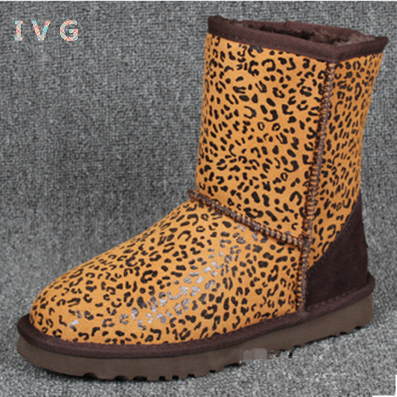 new 2017 Women's winter boots Australia Classic Camouflage Leopard Snow Boots Ugs Warm Leather Boots Brand IVG size 4-13 2017 women s winter boots australia classic mini camouflage pattern ugs snow boots warm leather ankle boots brand ivg size 4 13