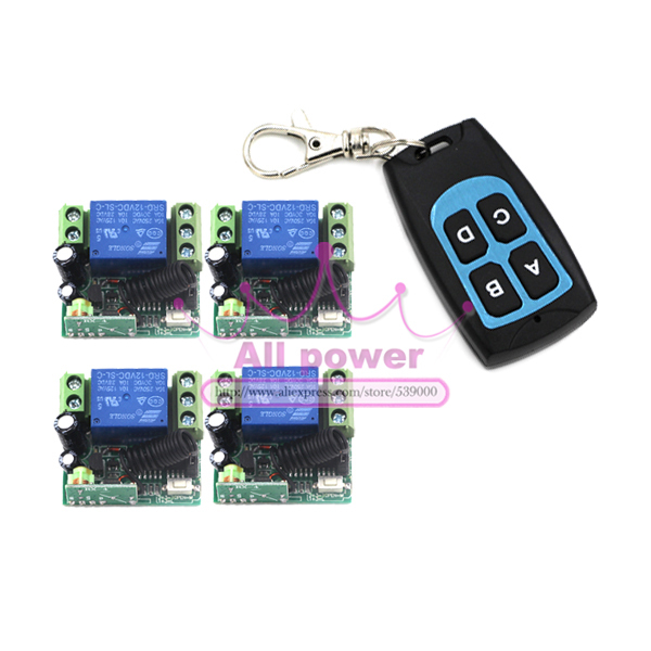 DC12V 1CH RF wireless power tool remote trigger 315mhz 433mhz remote switch 12v 10a latching relay 1 Transmitters + 4 Receivers