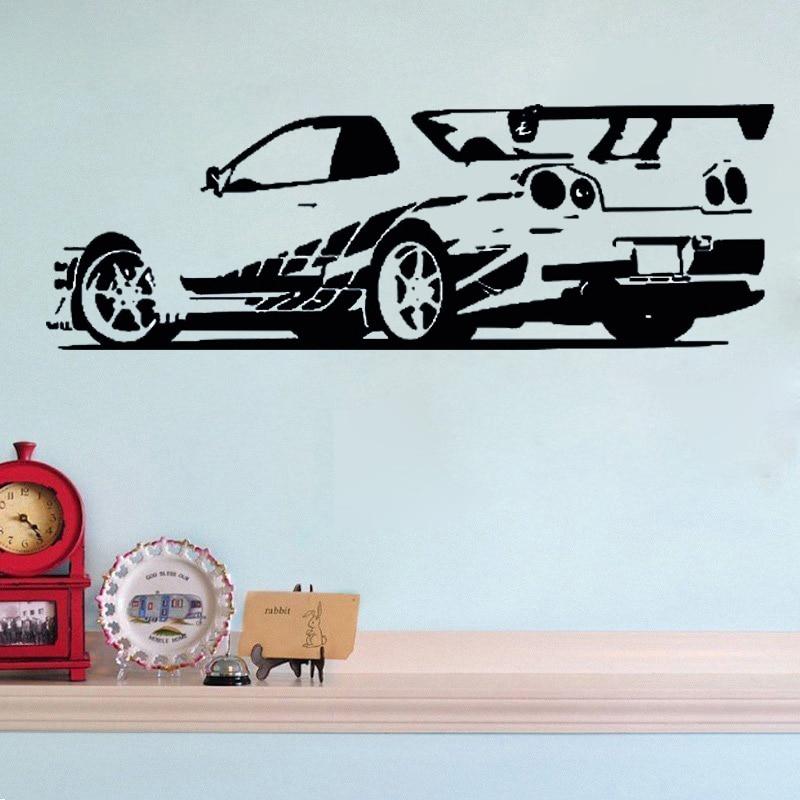 GTR horizon sport voiture de course amovible Stickers muraux vinyle décor maison amovible Mural papier peint pour garçons décoration de chambre
