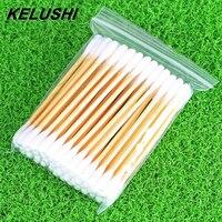 KELUSHI 50 packs High Quality Double Head Health Makeup Cosmetics Clean Cotton Swab Stick Drop Fiber Optic Equipment