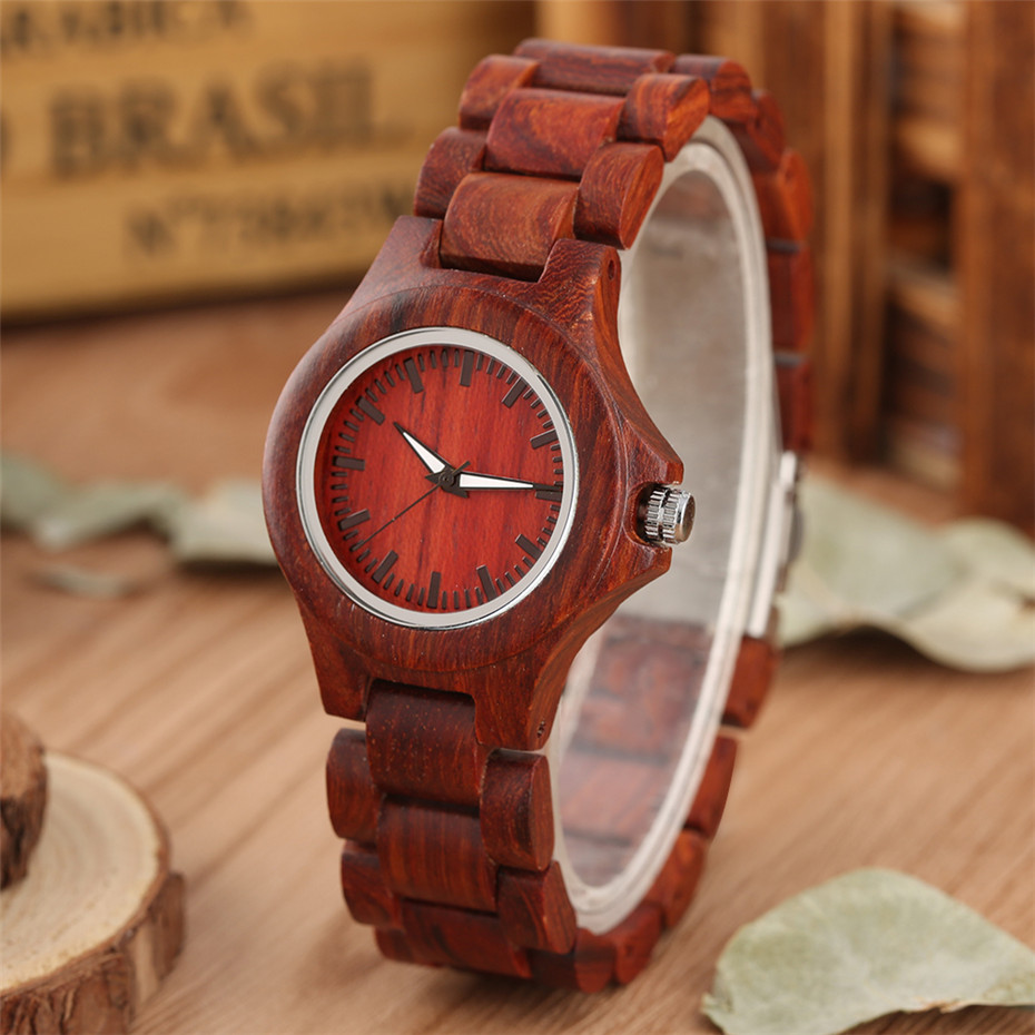 Solid Red Wood Watch Female Full Wooden Bangle Wristwatch Elegant Minimalist Ladies Casual Quartz Timepiece Luxury Clock Gifts(China)