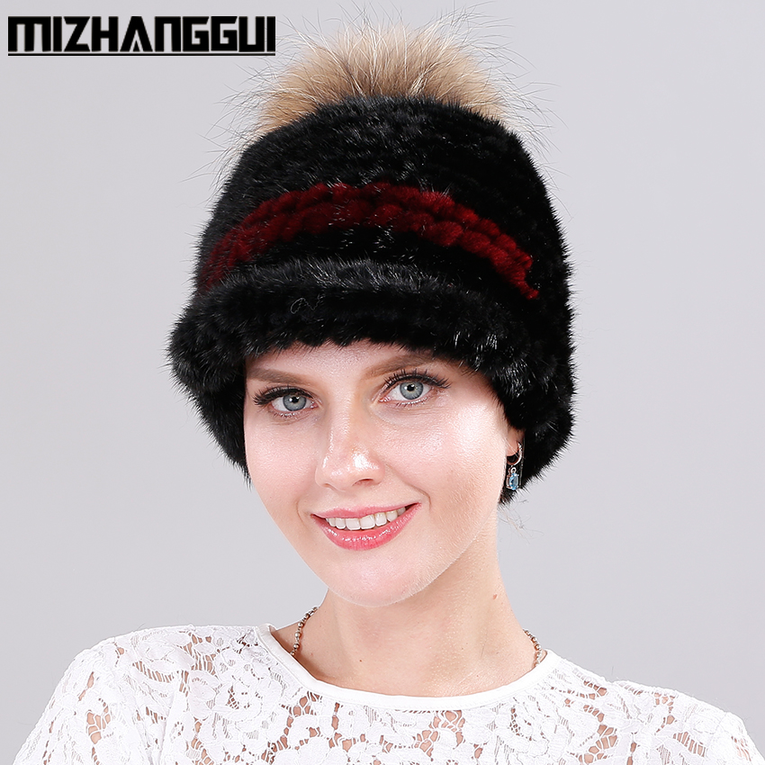 Mink Fur Baseball Cap for Women Fashionable Mink Fur Knitted Hat with Raccoon Fur Pompom Top Patchwork Winter Mink Hat for Girls smart color toner chip for dell 1230 1235c laser printer cartridge reset chip