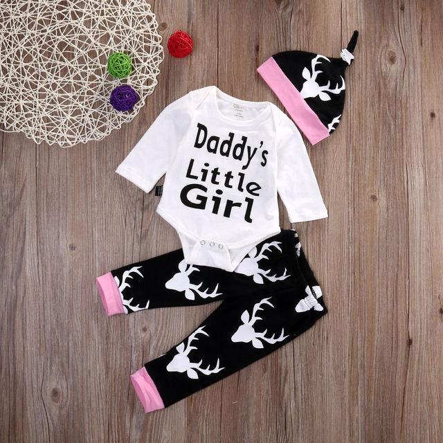971e506ce05 Daddy s Little Girl 3PCS Set Newborn Infant Baby Girls Tops Romper + Long Pants  Hat Outfit Clothes headband set Boutique Newborn
