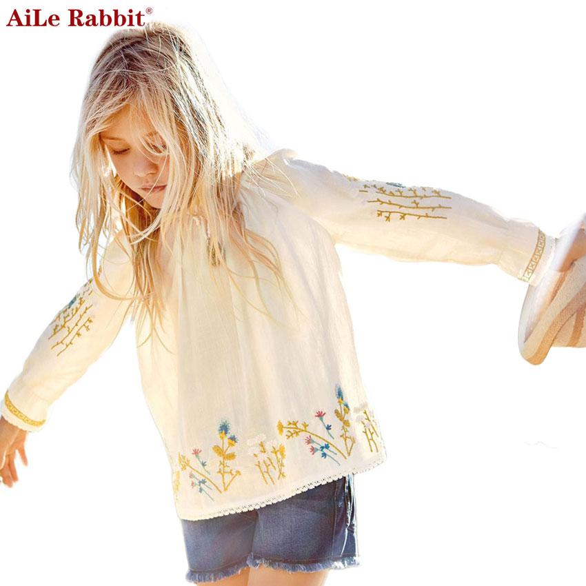 AiLe Rabbit 2017 Girls Shirt Autumn Fashion Embroidery Brand High Quality Cotton Clothes Princess Long Sleeve Kids White Navy little maven 2017 new summer autumn baby girls brand clothes kids cotton rabbit pocket navy blue dress s0001