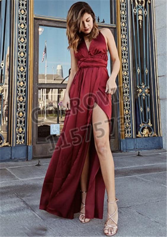 Discreet 2019 Women Summer Sexy Party Night Dresses Elegant Vintage Bandage Pink Backless Maxi Dress Dresses