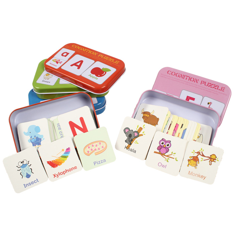 Montessori English Word Flash Cards Digital/Letter/Shape/Animals Iron Box Paper Alphabet Matching Educational Puzzle Kids Gifts