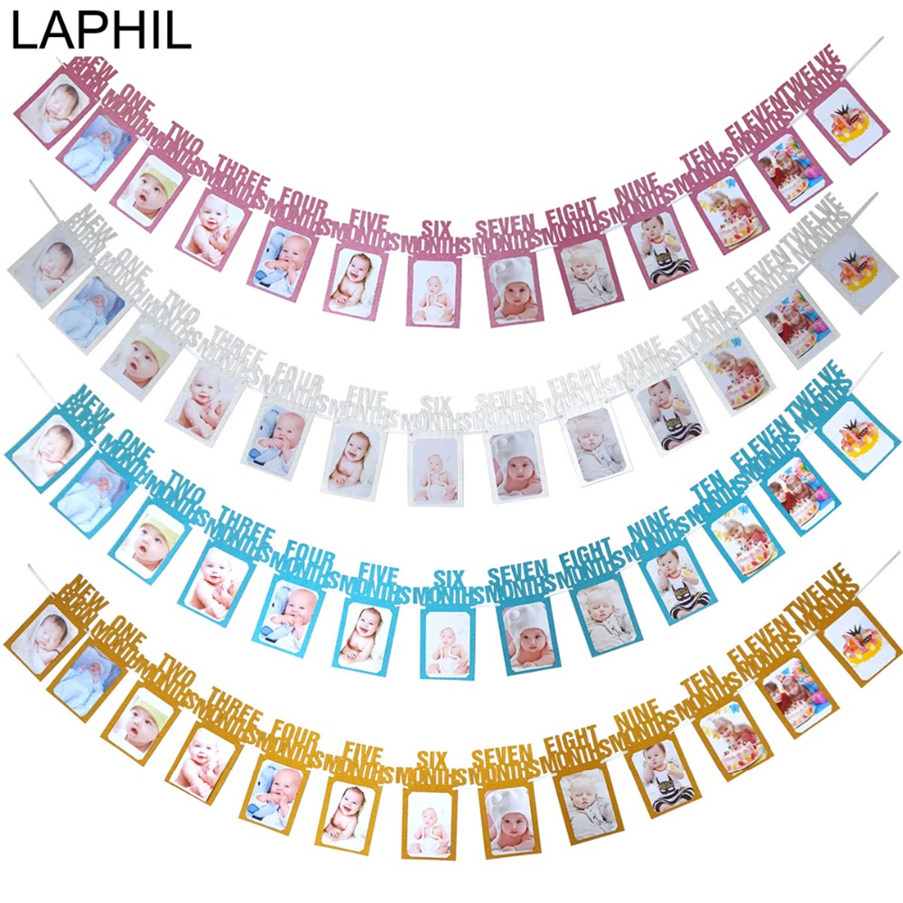 US $4 11 10% OFF|LAPHIL 12 Months Photo Frame Banner Baby 1st Birthday  Banner Happy First Birthday Party Decorations Kids Boy Girl 1 Year Party-in