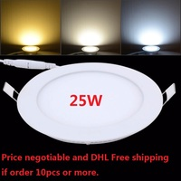 Free shipping 25W LED Panel light 85 265V Round led ceiling downlight+LED driver with 2 years warranty