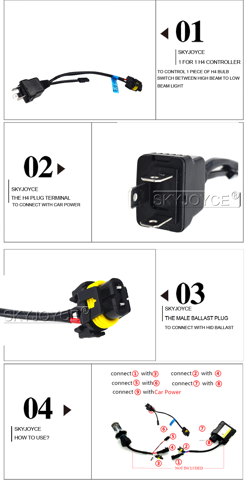 Skyjoyce Bixenon H4 Relay Harness Cable Controller 35w 55w 4300k Power Hid 5000k Hi Lo
