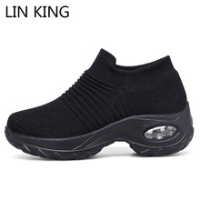 Купить с кэшбэком LIN KING Women Outdoor Casual Sport Shoes Plus Size Non Slip Sneakers Slip On Loafers Comfortable Height Increase Swing Shoes
