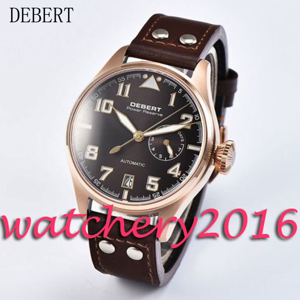 42mm Debert black dial rose golden case date adjust power reserve automatic movement Men's Watch цена и фото
