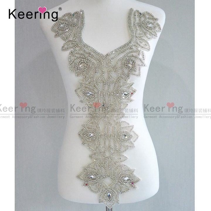 Large Size Beaded Rhinestone applique for Bridal Party Dresses WDP 057