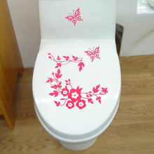 Butterfly Flower Vine Leaf Bathroom Wall Stickers Home Deocr Home Decoration Wall Decals For Toilet Commode Decal Sticker Decor