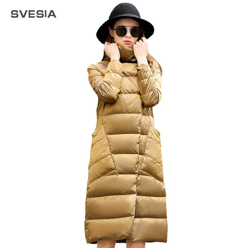 Пуховик на утином пуху, женская зимняя верхняя одежда 2019, пальто, женский длинный Повседневный светильник, ультра тонкий теплый пуховик, брендовая парка