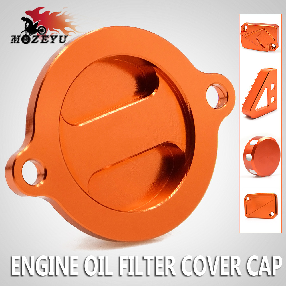 Motorcycle Engine Oil Filter Cover Cap and Brake Reservoir Cover and Rear Brake Pedal Step For KTM DUKE 125 RC125 2013-2016 2015 image