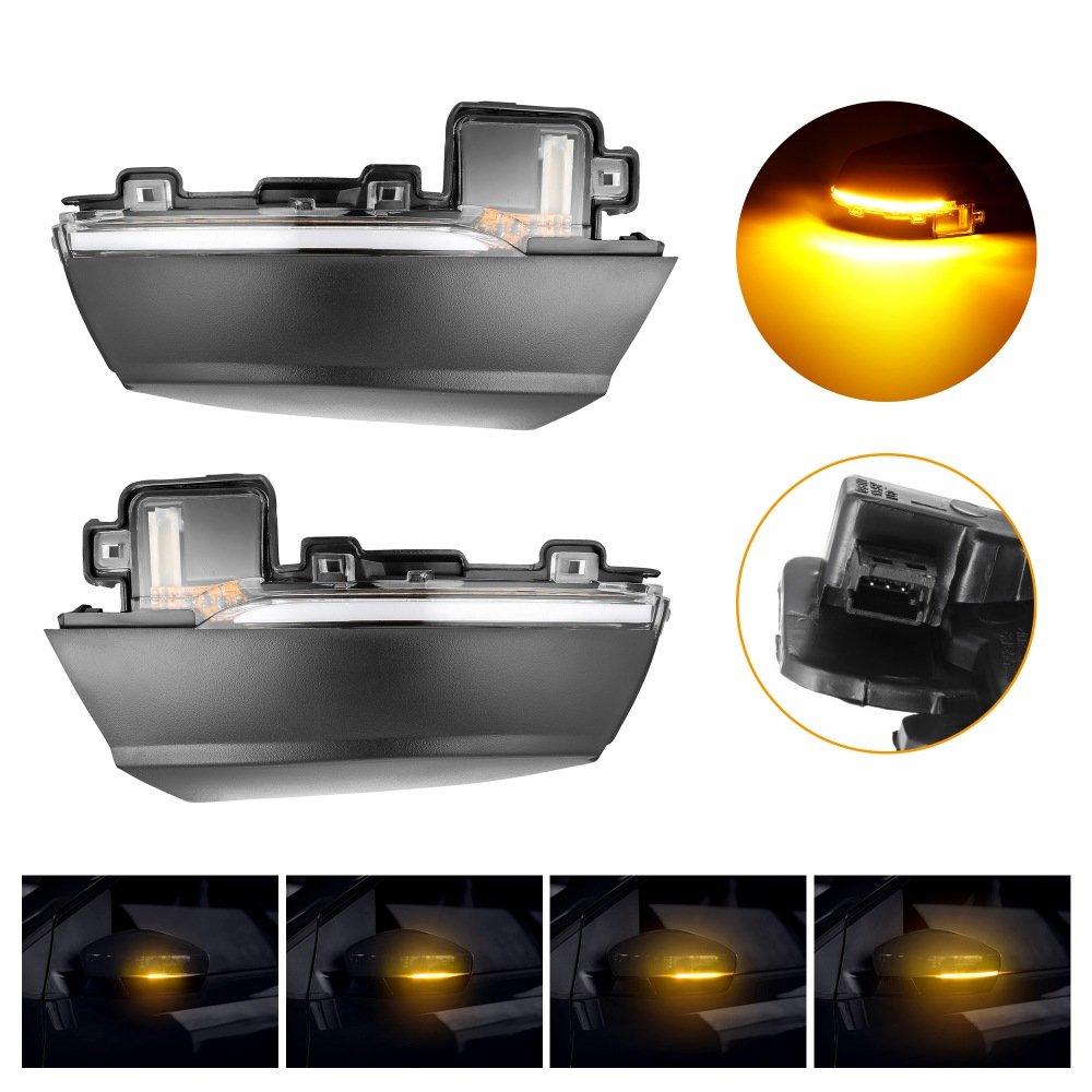 2pcs For Volkswagen VW Polo MK5 6R 6C 2009 2017 Dynamic Turn Signal LED Side Rearview