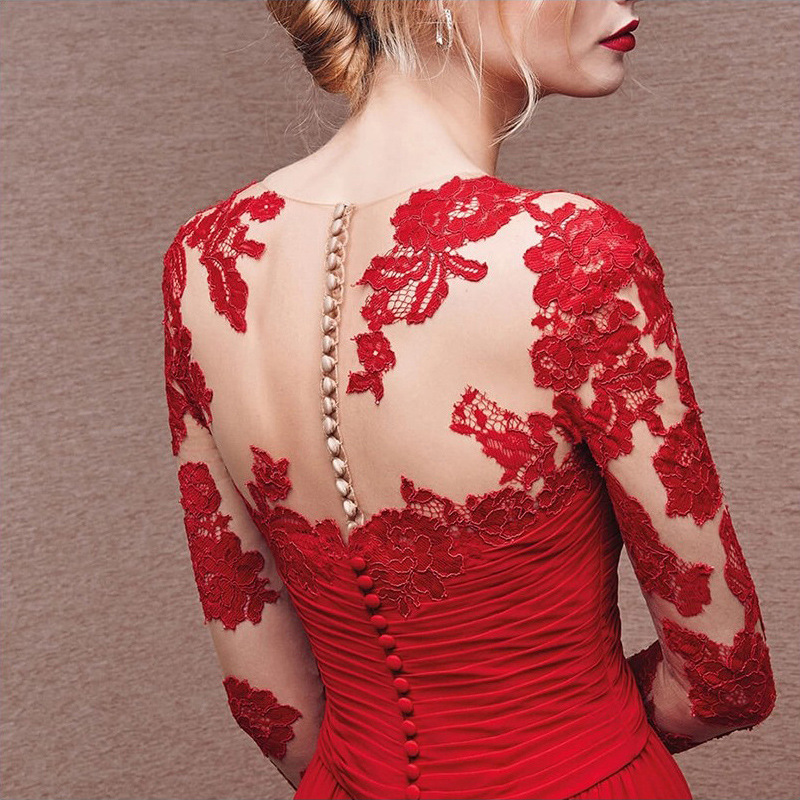 point Perspective Sept Dentelle Main Longue À Broderie Décoration Fleurs Rouge Femmes Manches Robe Mariée La Élégante De cSgUHHAZqF