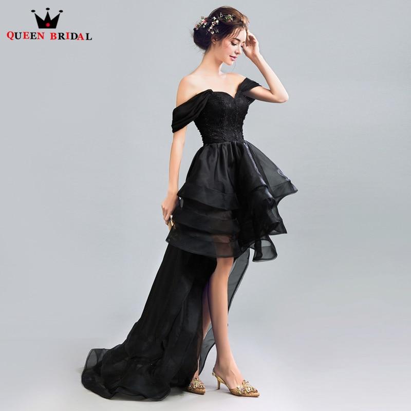 QUEEN BRIDAL Evening Dresses High Low Cap Sleeve Black Short Prom ... 1d8cbcc3dcc9