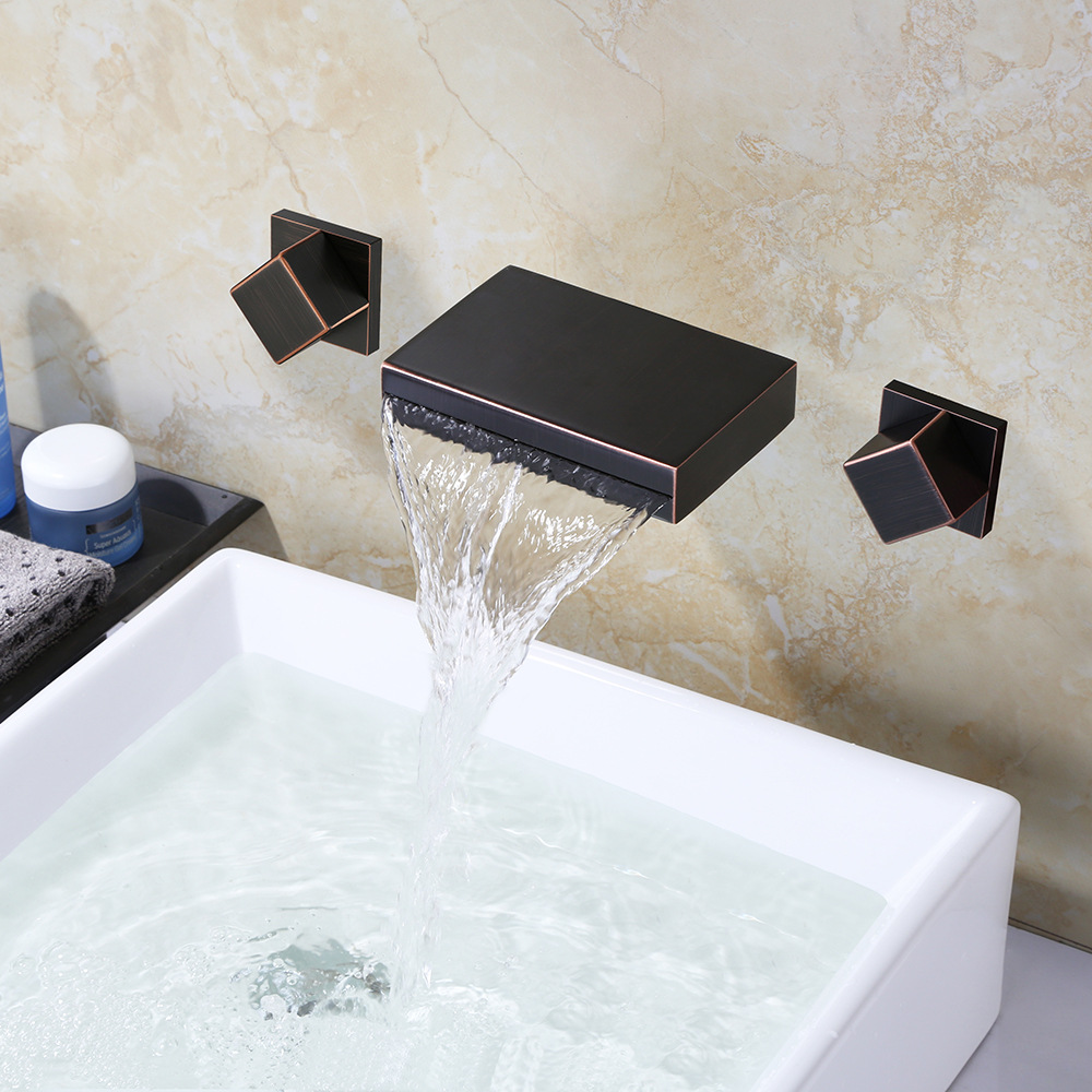 Black Wall Mounted 3 Holes Bathroom Waterfall Faucet  Brass Hot and Cold Water Tap Kitchen Faucet Square Electroplate