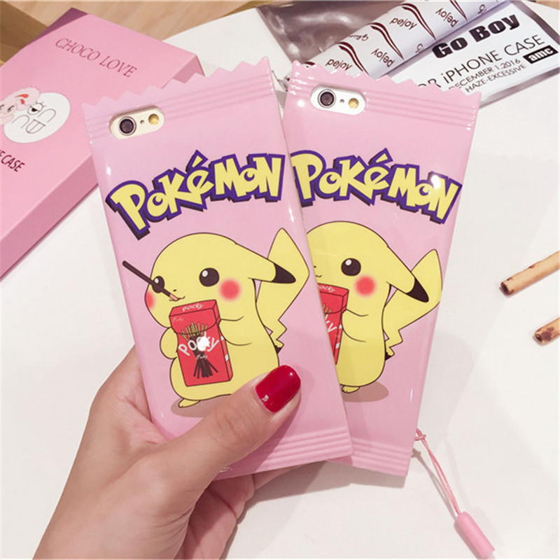 Pink cute Pokemon Pika Cases Cover For phone shell 6 6 s 7 8 Plus Biscuit candy chocolate Pikachu type digital TPU Soft Case