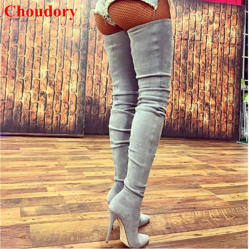 Grey/Nude/Black Stretch Suede Stiletto High Heels 2018 Kendall Jenner Style Pointed Toe Slim Thigh High Botas Shoes Women aquapulse 4122b grey black