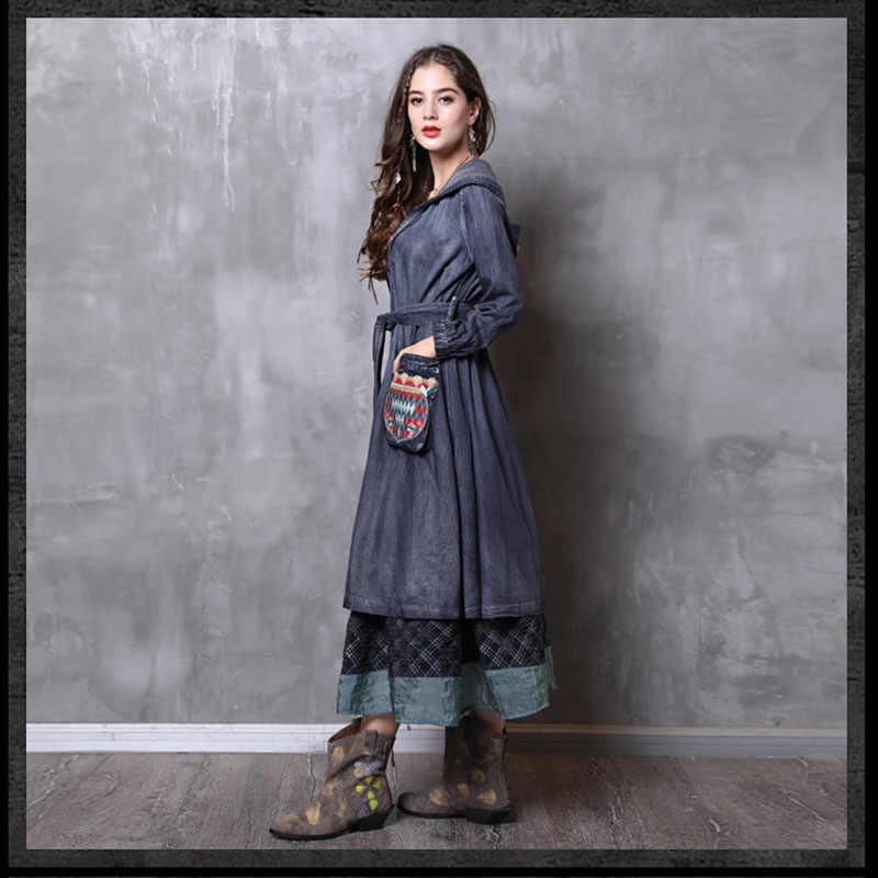 Весенне-осеннее винтажное женское джинсовое платье с вышивкой кардиган с капюшоном с ветровка куртка джинсовые платья с поясом Vestidos