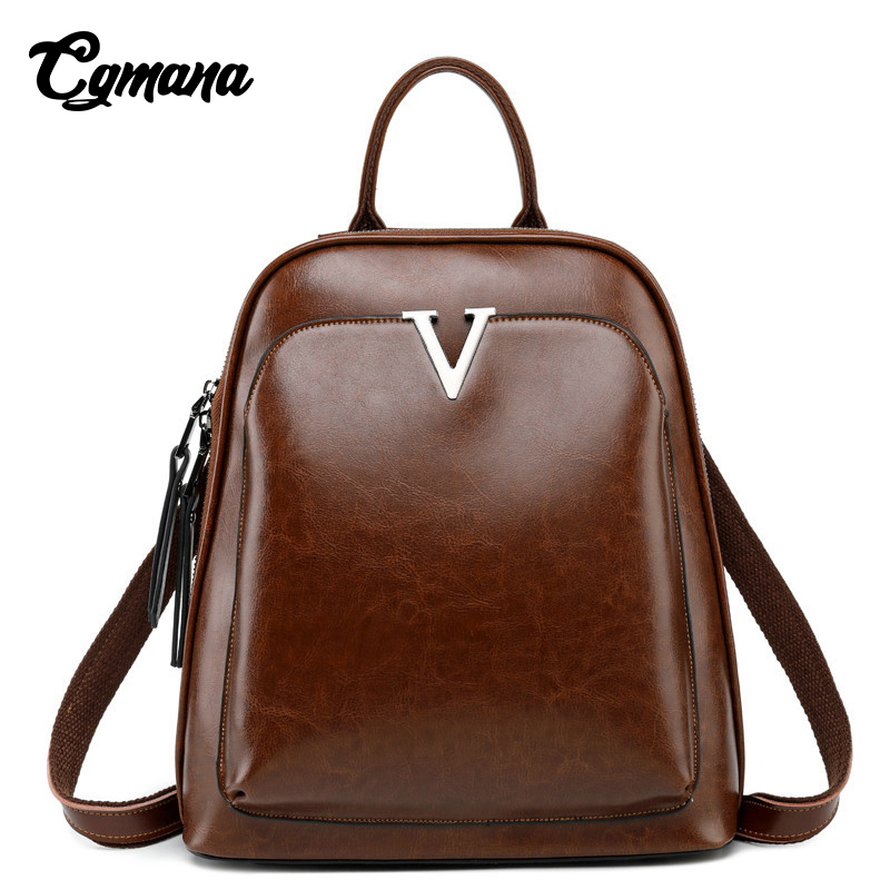 Genuine Leather Backpack 2019 Fashion Women Backpacks For Teenage Girls School Bags Vintage Cowhide Anti Theft Backpack Female