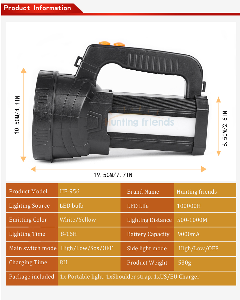 HTB1Cpp7aOzxK1Rjy1zkq6yHrVXa4 - Super Bright Portable Light USB Flashlight 3 Modes LED Lanterna Searchlight Camping Light Built in 9000mA Rechargeable Batttery