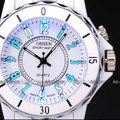 OHSEN Waterproof White Quartz Wrist Watch Color LED Light Sports Unisex OH02