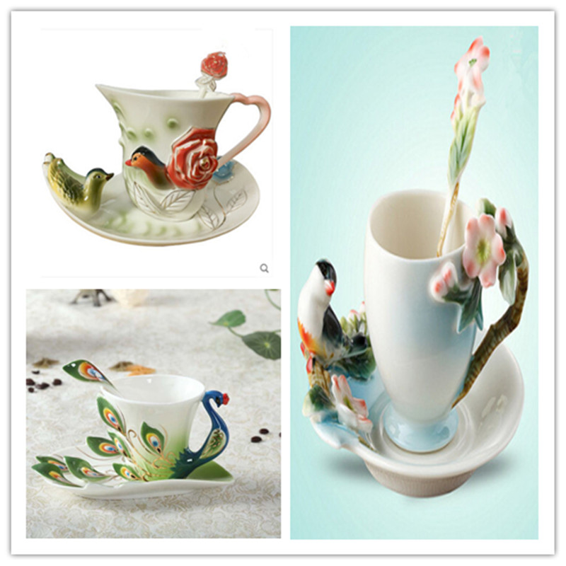 Enamel Porcelain Coffee Cup with Saucer Spoon Set Magpie Coffee tasse cafe Ceramic Tea Service for Home Decoration Gift CL190315