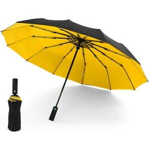 Image 5 - 2020 גדול עסקי מטריות גשם נשים איש מלא אוטומטית שמשייה 12 צלעות גברים שלושה קיפול מטריית זכר גדול Paraguas plegable