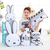Lovely Cartoon Rabbit Dog Milk Bottle Cassette Cushion Pillow Kids Bed Decoration Photo Props Children Room
