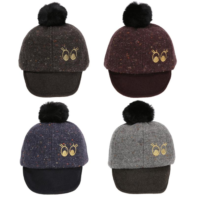 Fashion Baby Hat Cap Winter Warm Children Woolen Ball Baseball Cap Lovely Eyes Embroidered Infant Kids Knitted Hat Beanie Caps