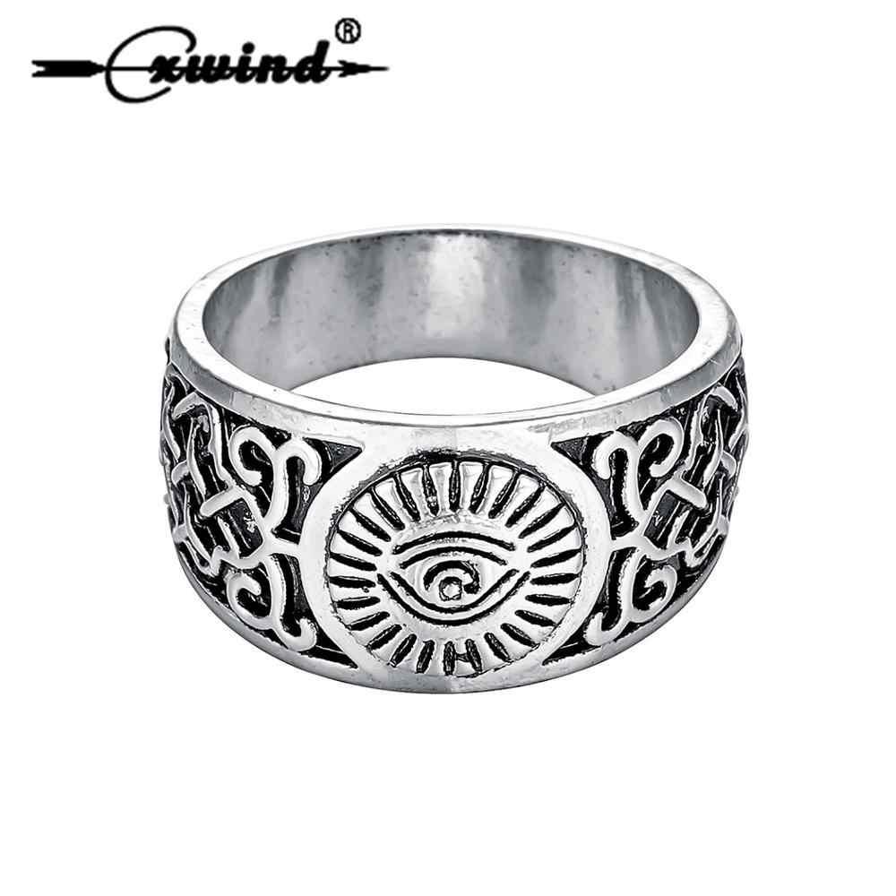 Cxwind Mens All Seeing Eye of Providence แหวนแฟชั่น Knuckle Vintage ศาสนาตาของพระเจ้าแหวนเครื่องประดับ Amulet