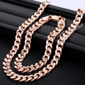 Trendsmax JEWELRY SET Chain Round Cut Curb Cuban Link Rose Gold Filled GF Necklace Bracelet Set Wholesale Jewelry GS75
