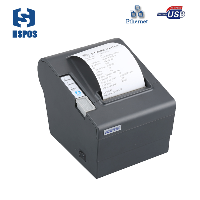 High Speed Ethernet Thermal Bill Receipt Printer With Auto Cutter Support Lan Interface Pos 80  Download impressora wholesale brand new 80mm receipt pos printer high quality thermal bill printer automatic cutter usb network port print fast