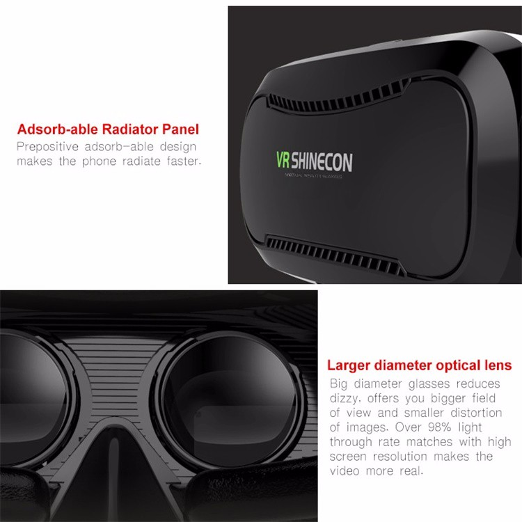 Shinecon 2.0 VR Pro Version Virtual Reality 3D Glasses Headset Google Cardboard BOX 3.0 Movie Game For 4.7-6 inch Phone + Remote 35