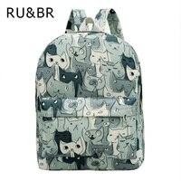 RU BR Cute Cat Canvas Backpack Casaul Printing Women Rucksack College School Bag For Teenagers Large