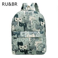 RU BR Cute Cat Canvas Backpack Casaul Printing Women Rucksack College School Bag For Teenagers Large