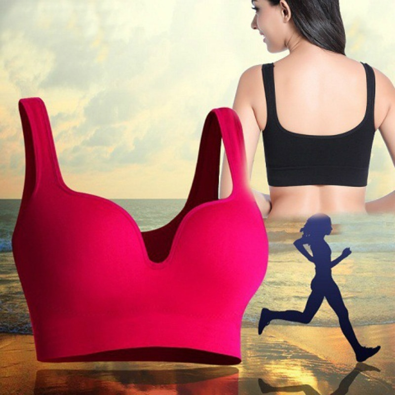 a55f7e97f9746 Fitness Sports Bra Women Push Up Tank Athletic Vest Top Seamless 3D Bras No  Rims Shockproof