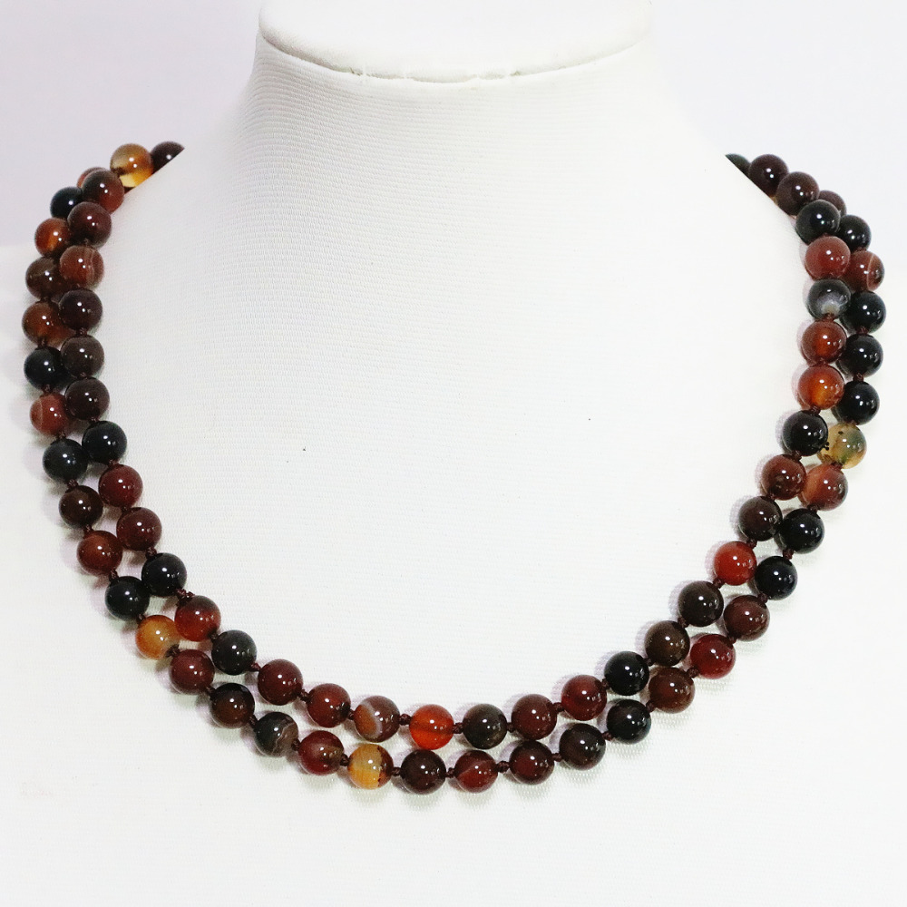 Noble dream agat 8,10mm carnelian onyx multi-color round beads long chain women ceremony lovely necklace jewelry 36inch B1470