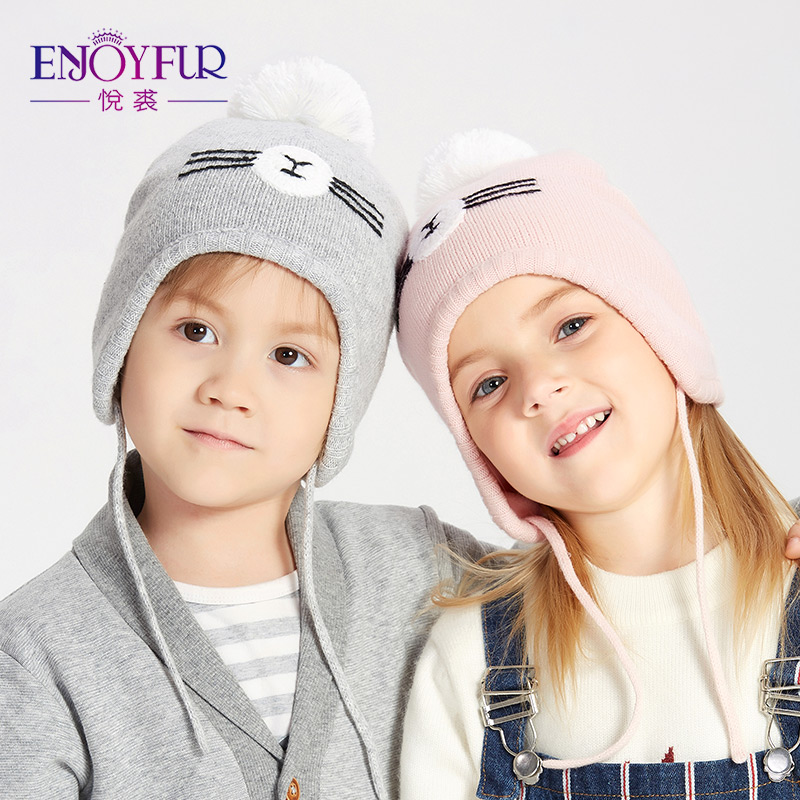 ENJOYFUR Hat Ear-Beanies Winter Caps Girls Baby Kids Boys Cotton Children with for Fox-Fur