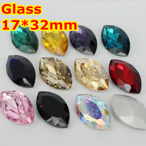 23Colors 84pcs/Lot 17*32mm Navette Glass Crystal Fancy Stone Marquise Horse Eye Pointback Crystals beads