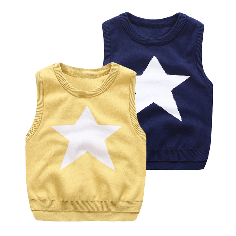 Baby Boys Sweater New Autumn Kids bobo choses Star Pattern Sweater Vest Jumper For Boys Girls Baby Fall Sweaters Clothing