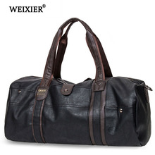 WEIXIER Fashion PU Leather Mens Travel Bags Luggage & Bag Men Carry On Duffel Weekend Big Tote Handbag 2019 New
