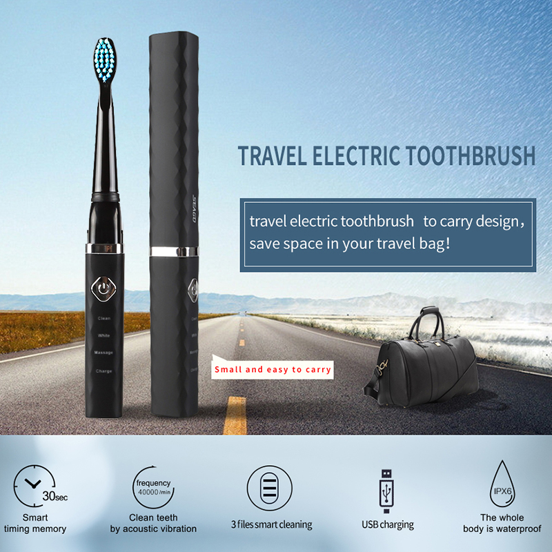 SEAGO Sonic Portable Electric Toothbrush Brushes USB Rechargeable Waterproof Deep Clean With 2 Brush Heads Timer Brush SG515 P42 image